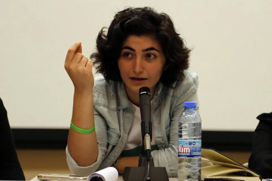 Maisan Hamdan speaks on a panel hosted by the Asfari Institute at the American University of Beirut, October 20, 2015. (Courtesy photo)
