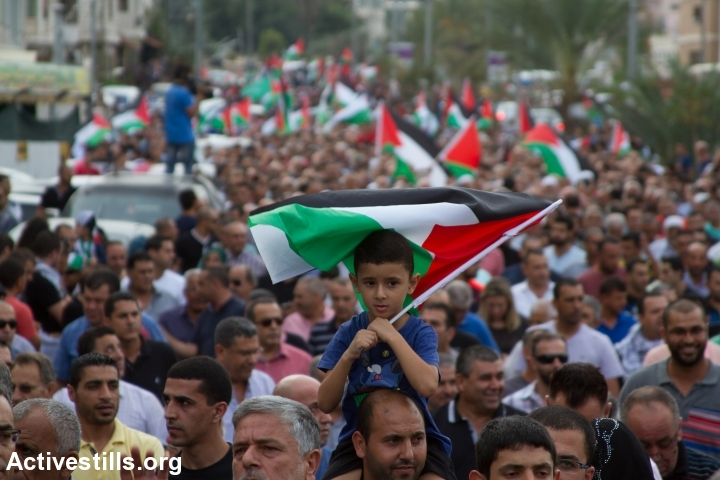 Palestinian citizens take part in a general strike in solidarity with Palestinians in Jerusalem, West Bank and Gaza, in the northern town of Sakhnin, on October 13, 2015. (photo: Omar Sameer)
