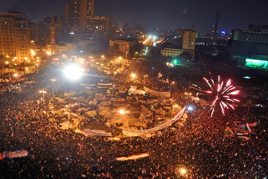 Celebrations in Tahrir Square after Omar Suleiman's statement concerning Hosni Mubarak's resignation. (photo: Jonathan Rashad/CC BY 2.0)