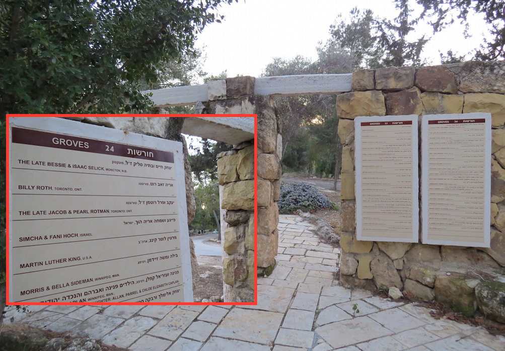 A donor's list at Ayalon Canada Park, including Martin Luther King Jr.'s name. The park is built atop the ruins of three Palestinian villages depopulated and destroyed in 1967.