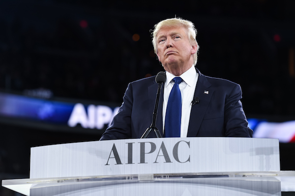 Then-Republican presidential candidate Donald Trump addresses the 2016 AIPAC Police Conference in Washington D.C., March 21, 2016. (Photo courtesy of AIPAC)