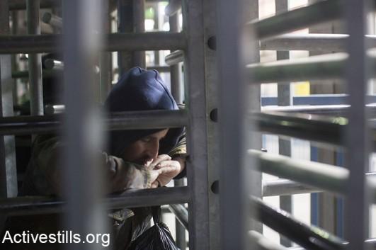 Qalandia checkpoint, where Maram Salih Hassan Abu Ismail and her 16-year-old brother Ibrahim Salah Taha were killed on Wednesday. (Activestills)