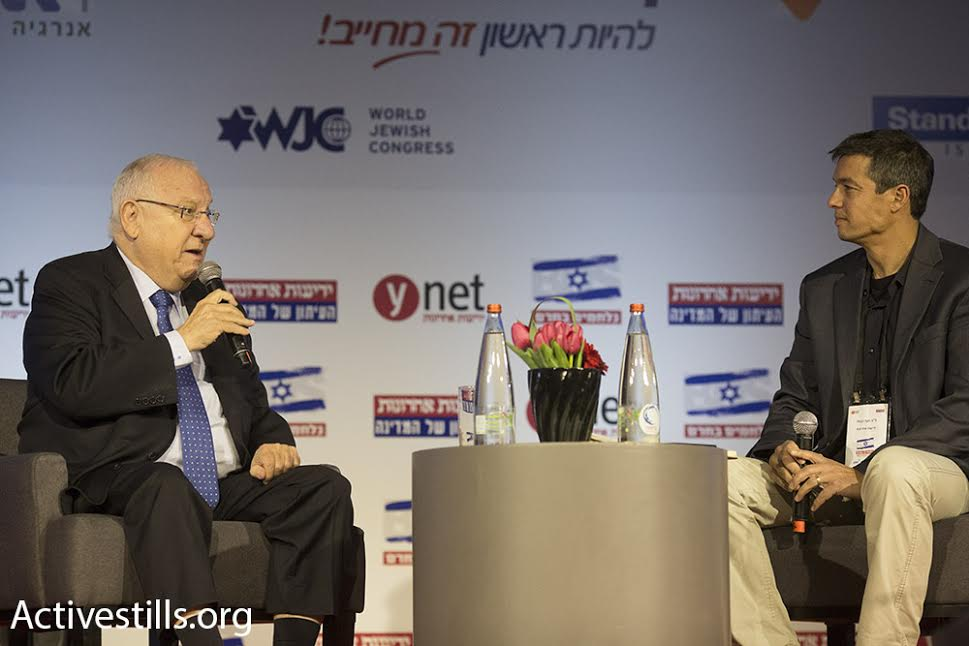 President Reuven Rivlin is interviewed during Yedioth Ahronoth's Stop BDS conference, March 28, 2016. (photo: Oren Ziv/Activestills.org)