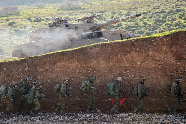 Israeli soldiers train for battle along the Lebanese border. (IDF Spokesperson)