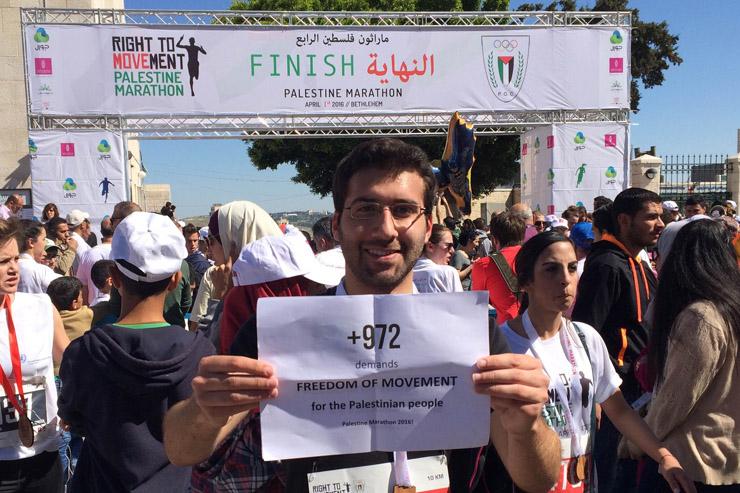 +972 blogger Amjad Iraqi finishes the Palestine Marathon in Bethlehem, April 1, 2016.
