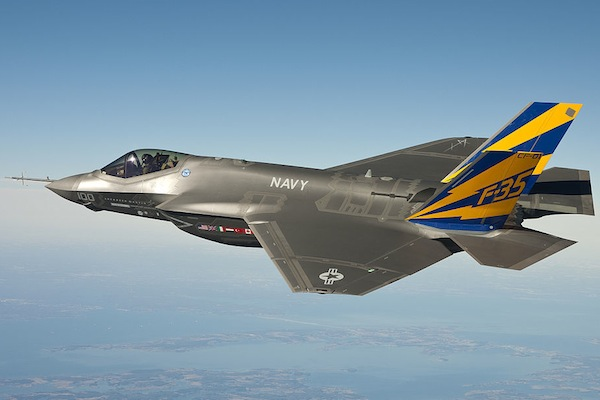 he U.S. Navy variant of the F-35 Joint Strike Fighter, the F-35C, conducts a test flight over the Chesapeake Bay.