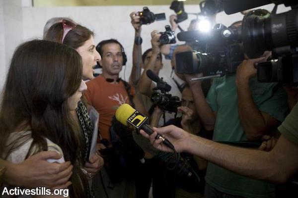 Illustrative photo of Israeli media interviewing Arab citizens. (Oren Ziv/Activestills.org)