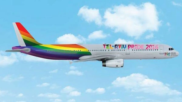 A drawing of the plane the Tourism Ministry planned to paint for the 2016 Pride Parade. (Courtesy)