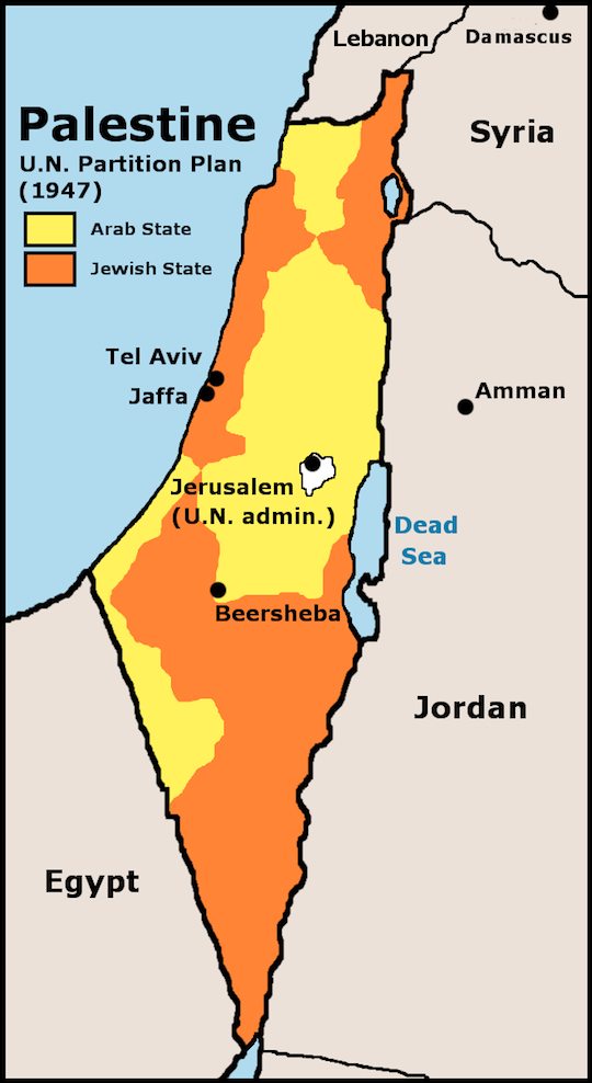 1947 UN Partition Plan for Palestine (Wikimedia)