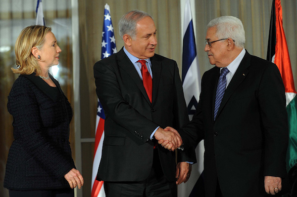 Then U.S. Secretary of State Clinton at a meeting between Prime Minister Netanyahu and President Abbas, September 15, 2010. (Amos Ben Gershom/GPO)