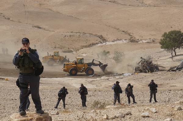 House demolition near Gawa'in road in the Negev, August 4, 2015. (Michal Rotem)