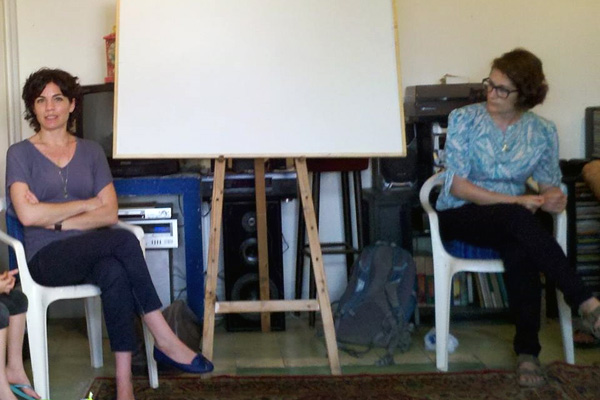 Member of Knesset Tamar Zandberg participates in an early TINAU class on feminism in Israel. (Photo by A. Daniel Roth)