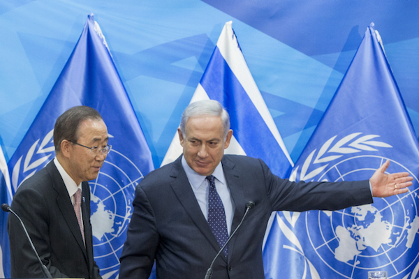 UN Secretary-General Ban Ki-moon and Israeli Prime Minister Benjamin Netanyahu hold a press conference in Jerusalem on June 28, 2016. (Yonatan Sindel/Flash90)