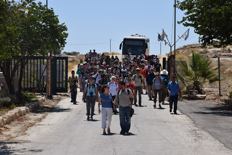 Activists with the Center for Jewish Non-Violence accompany Palestinian residents of Susya into the archeological park where the latter's village once stood, South Hebron Hills, July 14, 2016. (Michael Schaeffer Omer-Man)