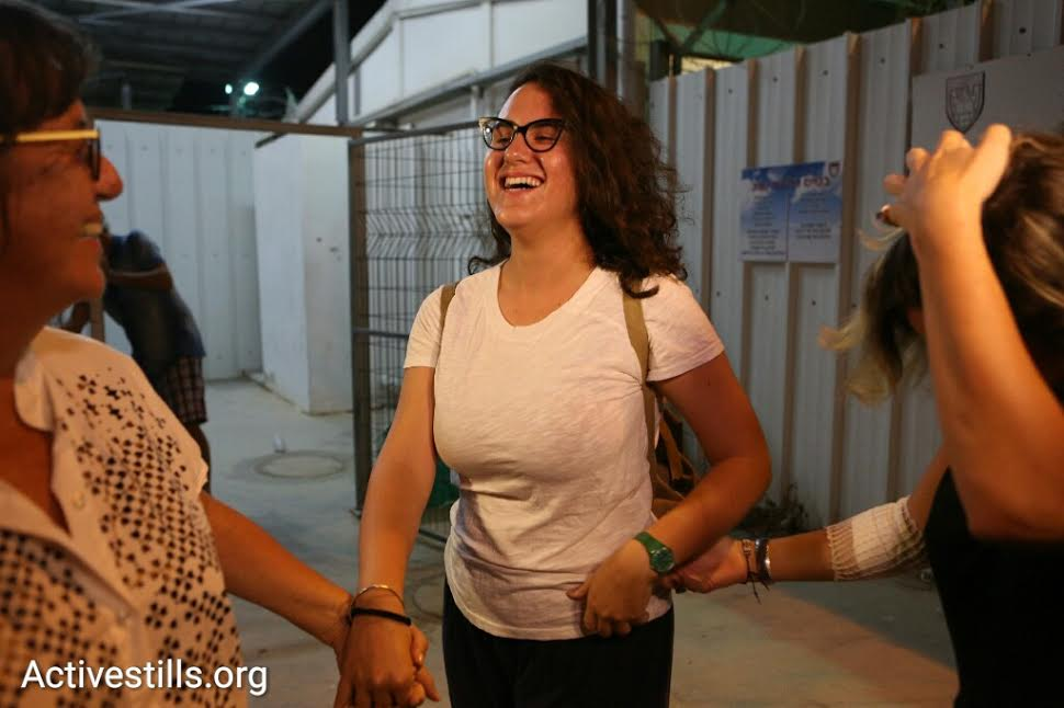 Conscientious objector Tair Kaminer is seen with family and supporters as she is released from Prison 6 after nearly 160 days. (photo: Oren Ziv/Activestills.org)