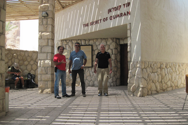 Motorcycles at the entrance to Qumran. Bassem on the left. (Bassam Almohor)
