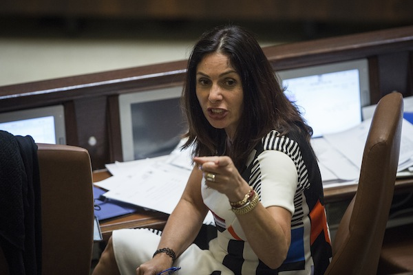 Culture Minister Miri Regev reacts at the Knesset assembly hall during a question period with Prime Minister Benjamin Netanyahu on July 18, 2016. (Hadas Parush/Flash90)