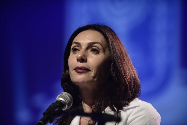 Israeli minister of CUlture Miri Regev speaks at the EMI, the Israel Artists Association, lifetime achievement awards ceremony, held in Petach Tikva on February 17, 2016. (Tomer Neuberg/Flash90