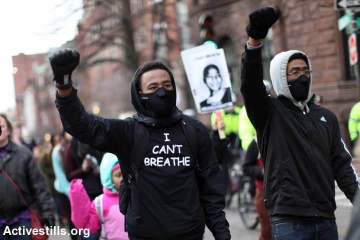 Activists take part in a Black Lives Matter march, Boston, January 19, 2015. (Tess Scheflan/Activestills.org)