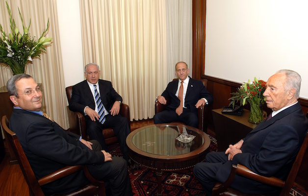 'The difference between Israeli left and right is all too frequently one of degree, rather than kind.' Pictured: (left to right) Israeli prime ministers Ehud Barak, Benjamin Netanyahu, Ehud Olmert, and Shimon Peres, June 19, 2006. (Amos Ben Gershom/GPO)