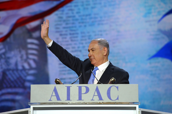 Israeli Prime Minister Benjamin Netanyahu addresses the AIPAC conference, March 2, 2015. (Amos Ben Gershon/GPO)