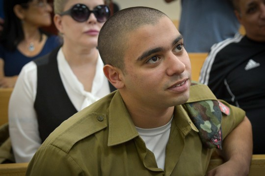 Sgt. Elor Azaria during his trial at the military court in Jaffa. (Flash90)
