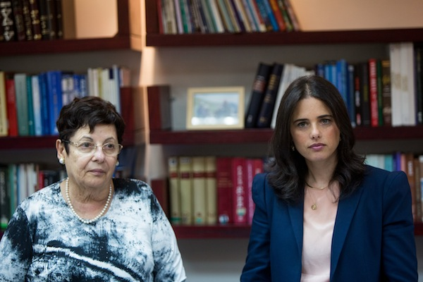 Israeli Minister of Justice Ayelet Shaked (R) seen with Supreme Court President Miriam Naor at the first meeting of the Israeli Judicial Selection Committee at the Ministry of Justice, Jerusalem on August 9, 2015. (Yonatan Sindel/Flash 90)