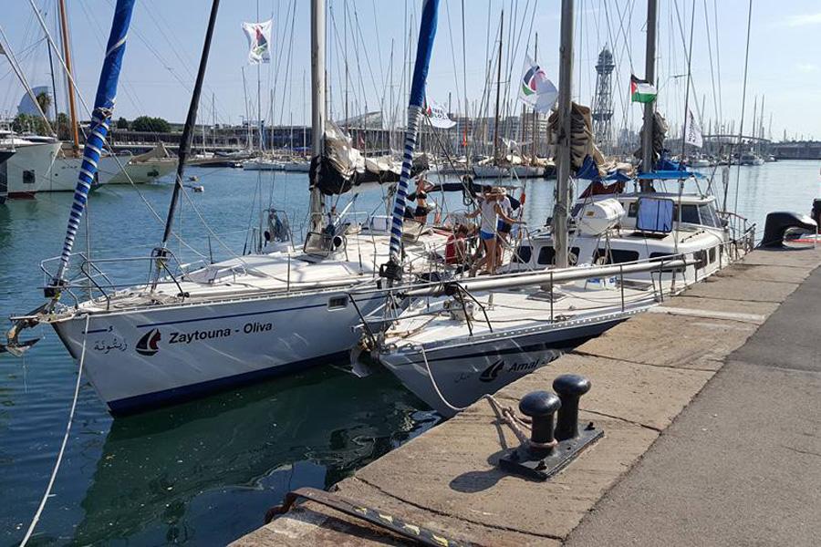 The two boats, Amal and Zaytoun, which will sail to Gaza. (Yudit Ilany)