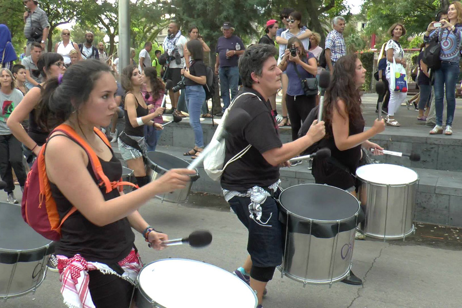Drummers march at a send-off festival for the Women's Flotilla to Gaza, Barcelona. (Yudit Ilany)