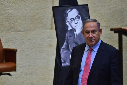 Prime Minister Netanyahu takes part in the annual day to commemorate Ze'ev Jabotinsky, the founder of the Revisionist Zionist movement, in the Knesset, August 3, 2016. (Kobi GIdeon/GPO)