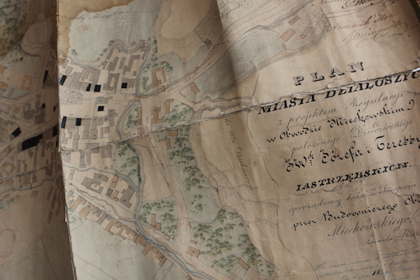 An antique map of Dzialoszyce, Poland from the 19th century. (David Sarna Galdi)