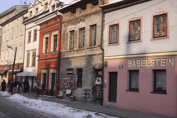 Homes and stores in the Jewish quarter of Krakow, Poland. (Isaac Harari/Flash90)
