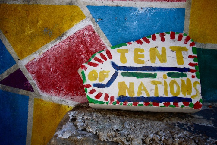 Painted tiles at Tent of Nations, West Bank. (Sarah Stern)