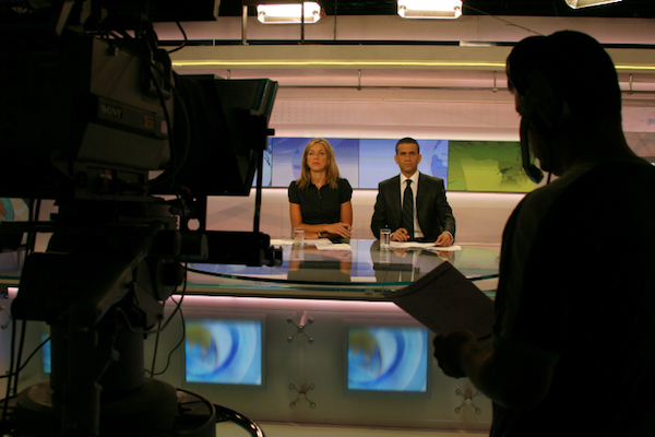 File photo of Israel's Channel 1 evening news broadcast. (Anna Kaplan/Flash90)