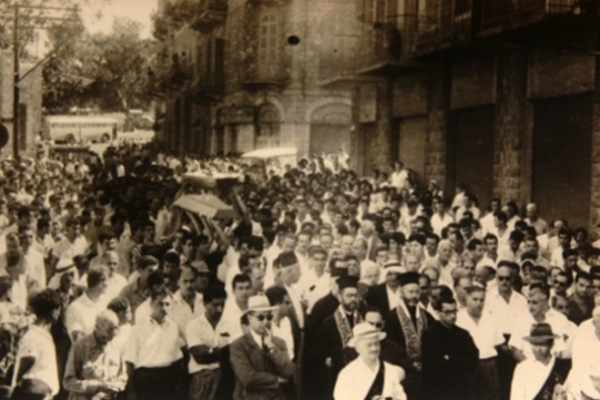 Palestinian citizens march during the funeral procession for the three teens, Haifa, 1961.