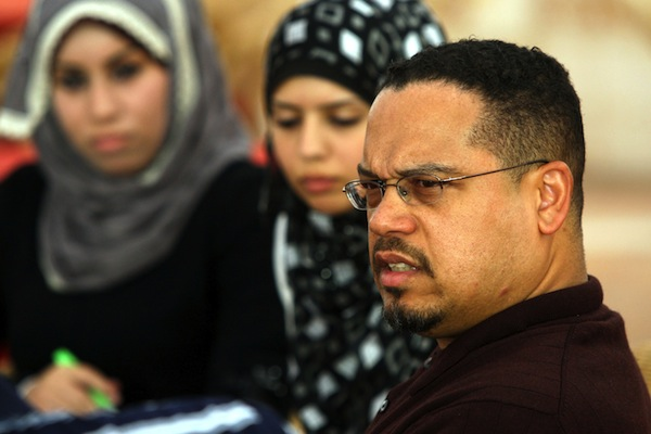 Rep. Keith Ellison meets Palestinian students during his visit to the Gaza Strip, Gaza City, April 3, 2010. (Wissam Nassar/Flash 90)