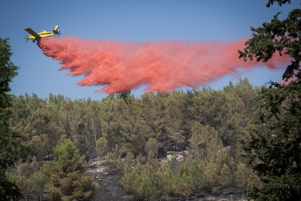 Fire fighters try to extinguish a forest fire in the forest near Neve Shalom and Latrun, outside Jerusalem, November 22, 2016. (Hadas Parush/Flash90)