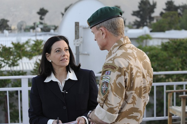 Kathleen Troia McFarland talks with the deputy commander of ISAF Lt Gen J.B Dutton (UK) before an interview, May 10, 2009, ISAF HQ in Kabul, Afghanistan.