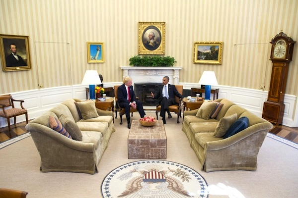 President Barack Obama meets with President-elect Donald Trump in the Oval Office, November 10, 2016. (Official White House Photo: Pete Souza)