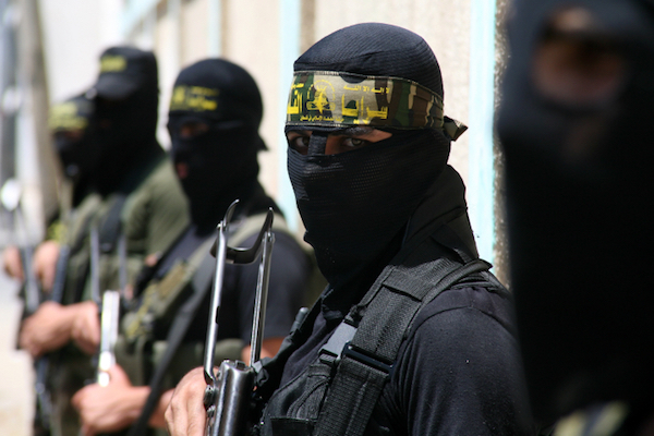 File photo of Palestinian Islamic Jihad militants in Gaza City. (Wissam Nassar/Flash90)