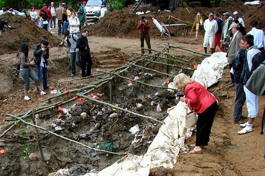 A mass grave at Srebrenica, where Serbian forces massacred around 8,000 Bosnian Muslims in 1995. (Adam Jones)