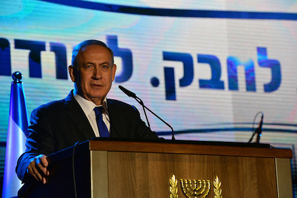 Prime Minister Benjamin Netanyahu at an event honoring firefighters and first responders, Haifa, December 26, 2015. (Kobi Gideon/GPO CC 2.0)