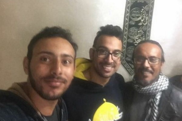 The three Palestinian activists detained by the Shin Bet before Yacoub Abu al-Qi'an's funeral. From right: Fady Masamra, Amir Abu Qweidr, and Raafat Awaisha.