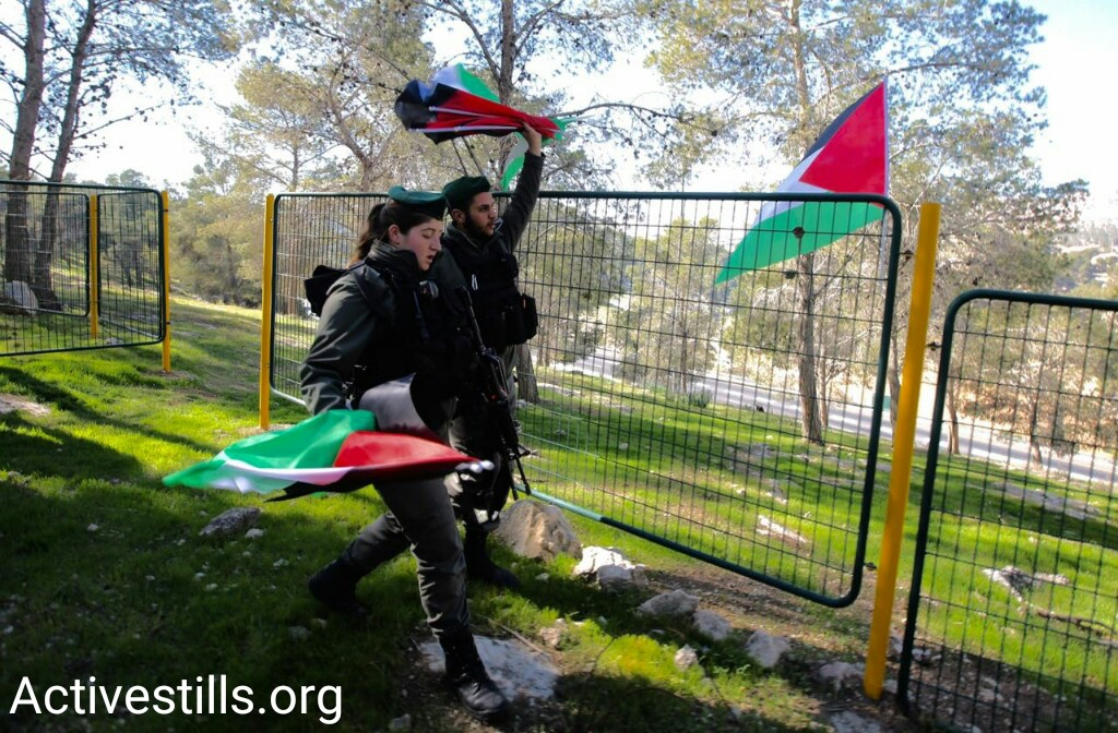 Police remove Palestinian flags near the protest village established by Palestinian protesters, Ma'ale Adumim, West Bank, January 20, 2017. (Activestills.org)