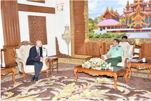 Michel Ben Baruch, head of the Israeli Department of Security Exports, meets with leaders of Myanmar's military.