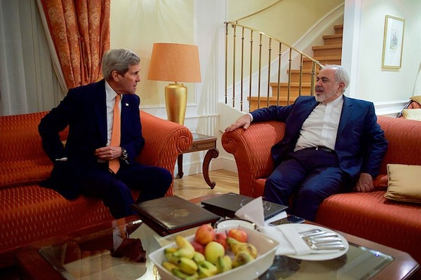 U.S. Secretary of State John Kerry sits with Iranian Foreign Minister Javad Zarif on January 16, 2016, at the Palais Coburg Hotel in Vienna, Austria, before a meeting about the implementation of the Joint Comprehensive Plan of Action outlining the shape of Iran's nuclear program. (State Department photo)