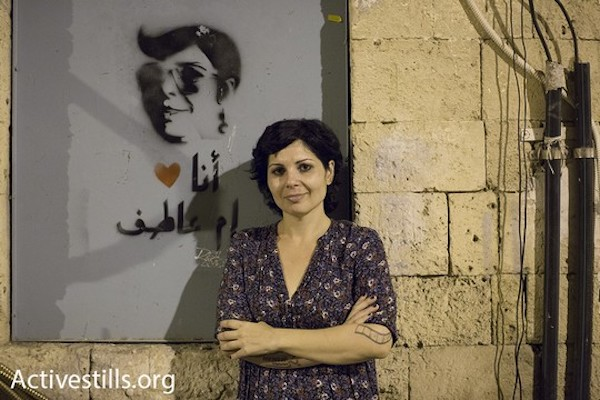 Palestinian film director Maysaloun Hamoud outside the Anna Loulou bar in Jaffa. (Oren Ziv/Activestills)