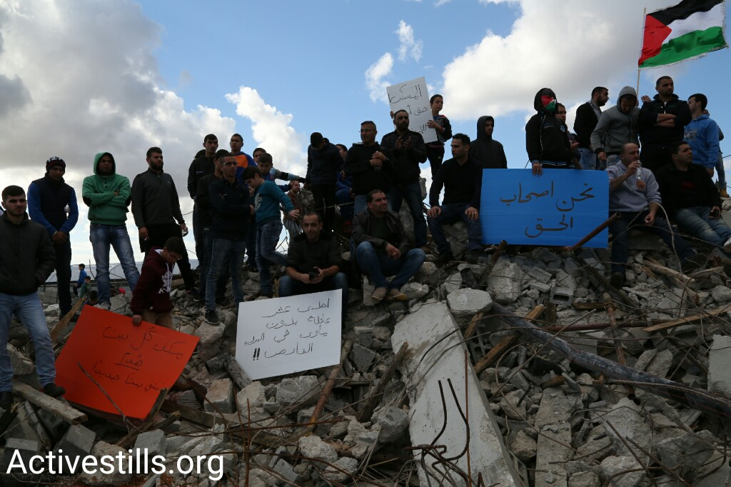 Palestinian citizens of Israel demonstrate at a mass rally following the demolition of 11 homes in the Arab town of Qalansuwa, central Israel, January 13, 2017. (Keren Manor/Activestills.org)