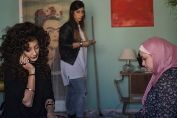 From left to right: Mouna Hawa, Sana Jammelieh and Shaden Kanboura in a scene from 'In Between.' (Tuli Cohen)