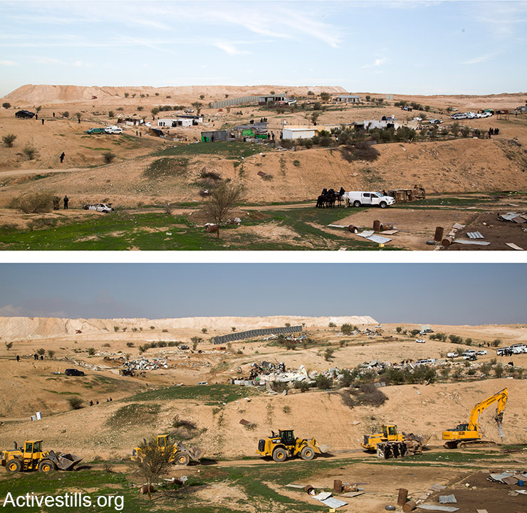 Umm el-Hiran before and after Israeli bulldozers carried out demolitions, January 18, 2017. (Keren Manor/Activestills)